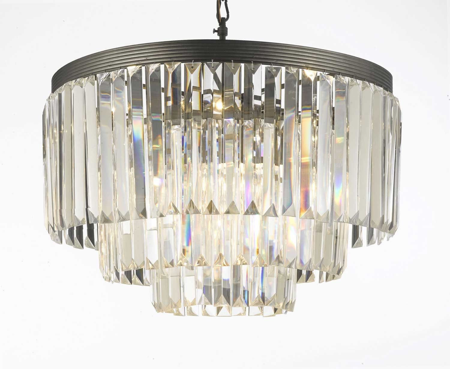 G7 11009 Gallery Chandeliers Retro Odeon Crystal Glass Fringe 3 Within 3 Tier Crystal Chandelier (#7 of 12)