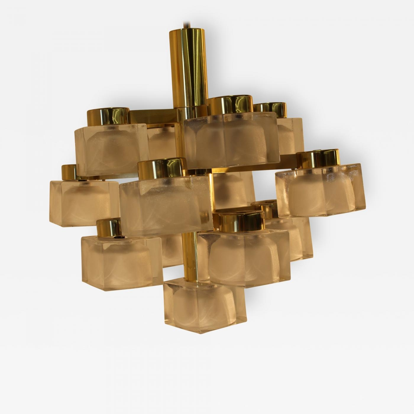 Gaetano Sciolari Italian Large Gaetano Sciolari Ice Cube Glass Regarding Brass And Glass Chandelier (#2 of 12)