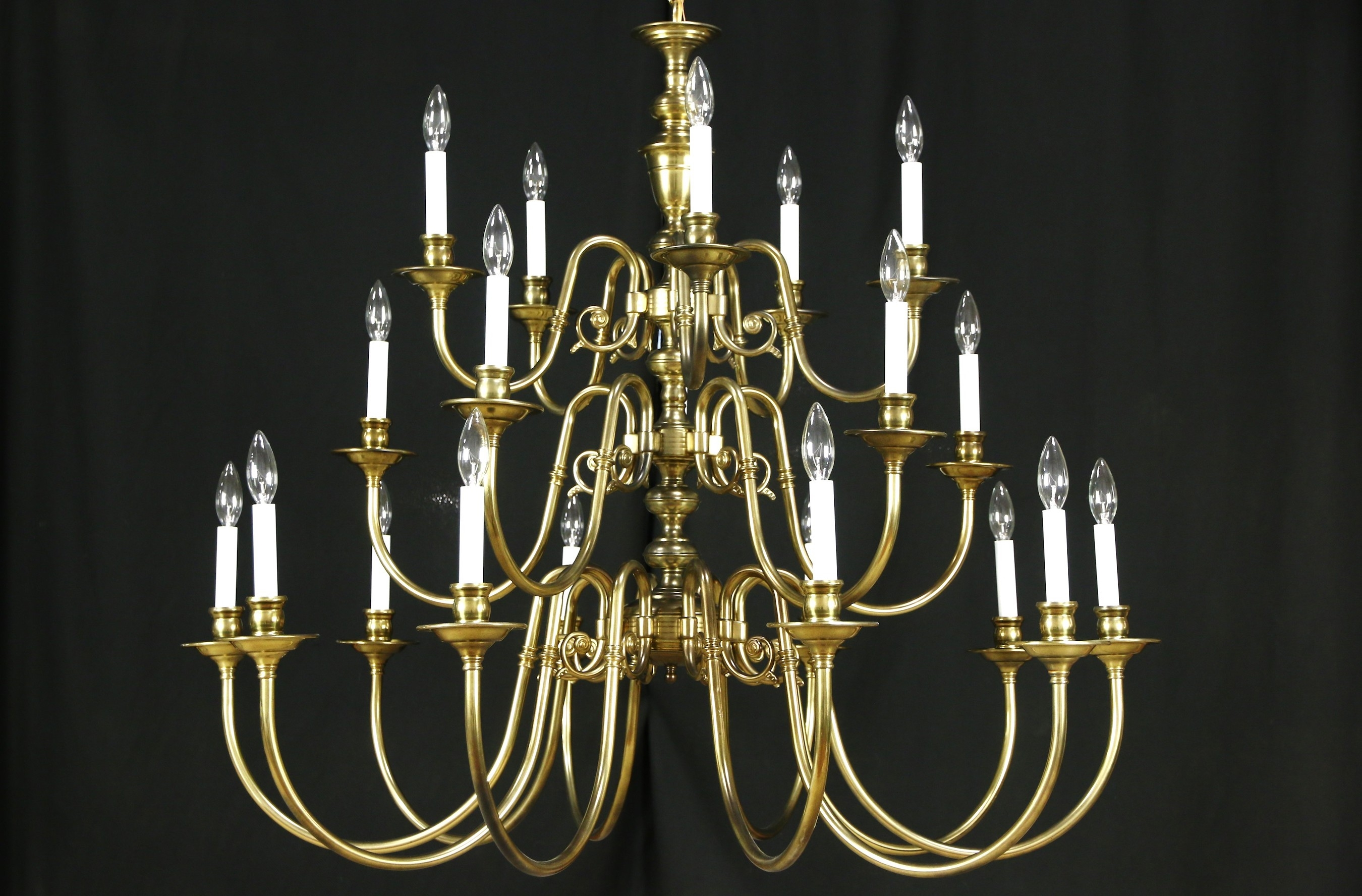 Georgian Style Chandelier Vintage 3 Tier Patinated Brass 20 Within Georgian Chandeliers (#9 of 12)