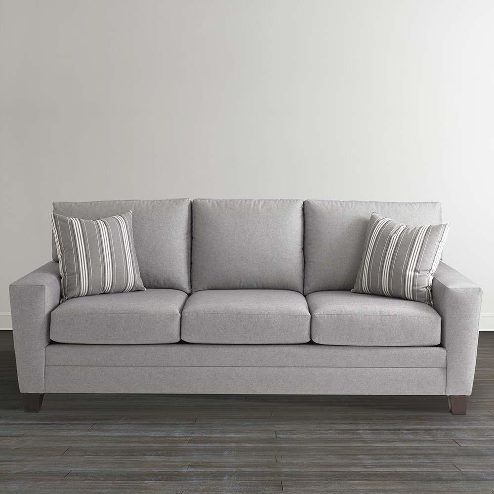 Gray Plaid Upholstered Sleeper Sofa Pertaining To Bassett Sofa Bed (#7 of 12)