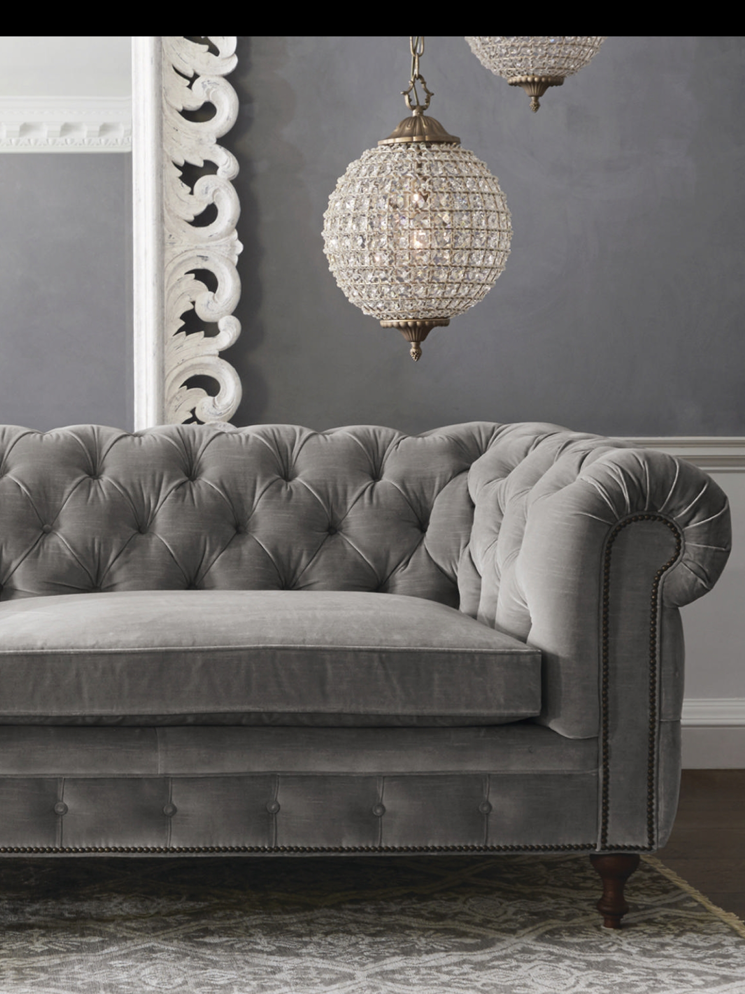 Grey Velvet So Rich Chesterfield Sofas Armchairs Sectionals In Affordable Tufted Sofa (#8 of 12)