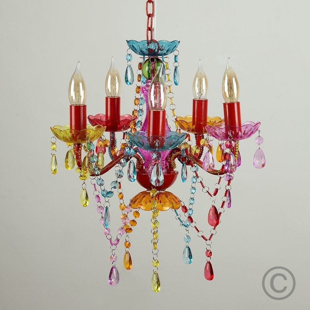 Gypsy Chandelier Pendant Ceiling Light Multi Coloured Small Pertaining To Coloured Chandeliers (#4 of 12)