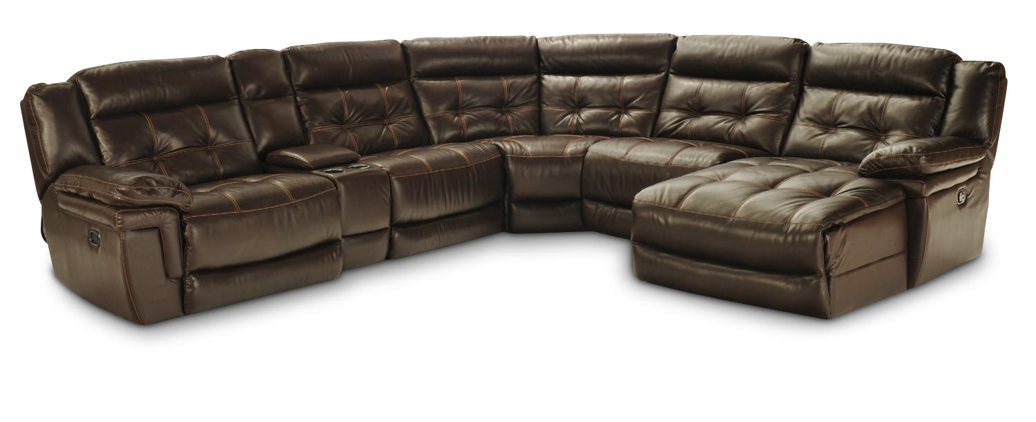 Hallmark 6 Piece Leather Power Recline Sectional 2 Reclining Throughout 6 Piece Leather Sectional Sofa (#7 of 12)