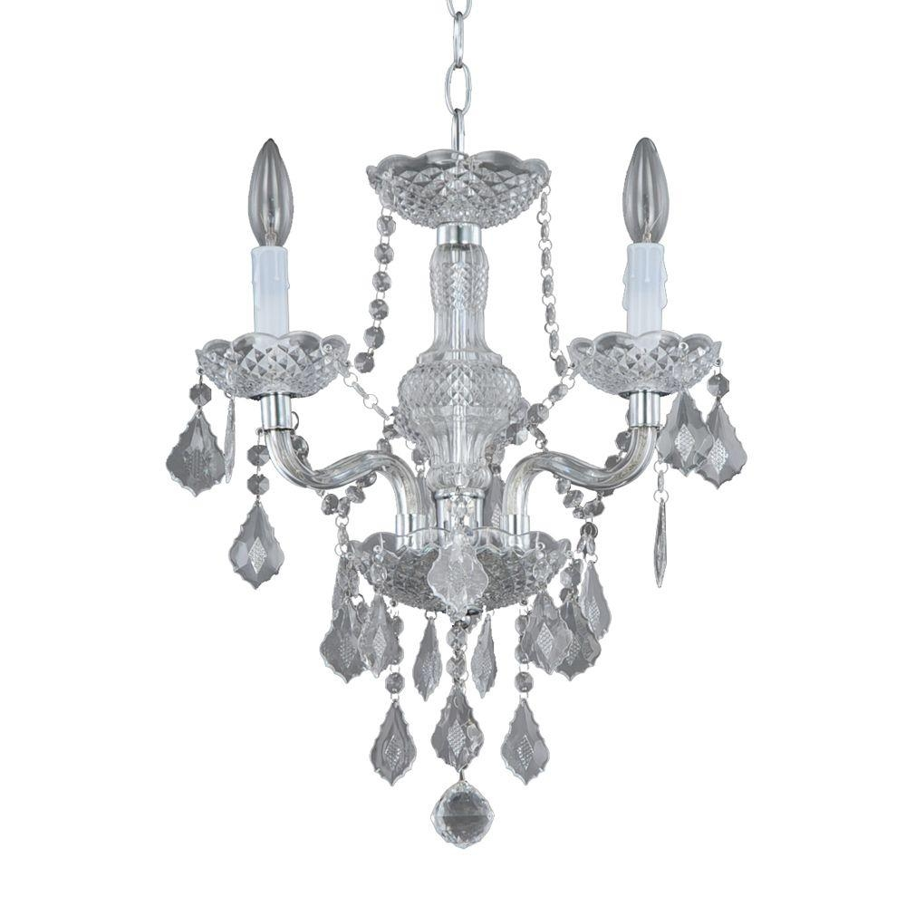 Hampton Bay 3 Light Chrome Maria Theresa Chandelier With Black For Chrome Chandeliers (#10 of 12)