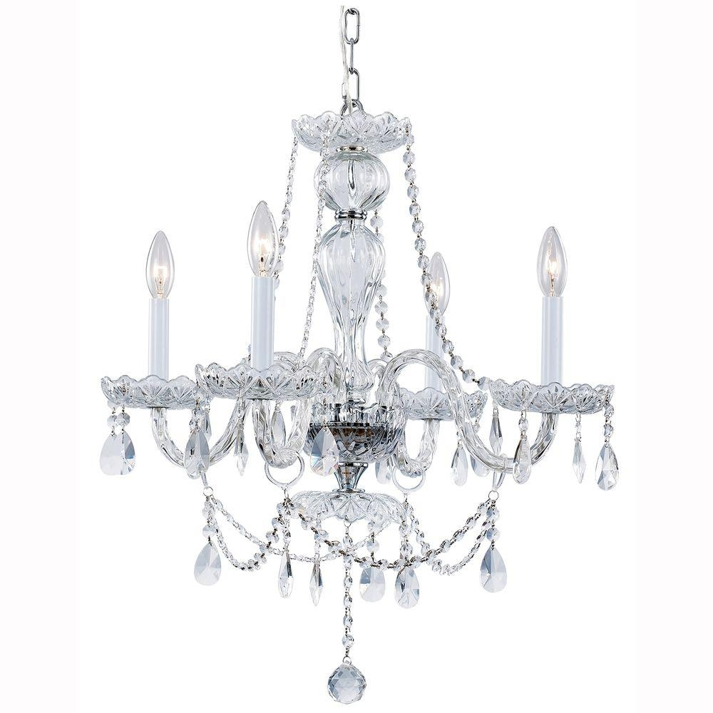 Hampton Bay Lake Point 4 Light Chrome And Clear Crystal Chandelier In Crystal Chrome Chandelier (#9 of 12)