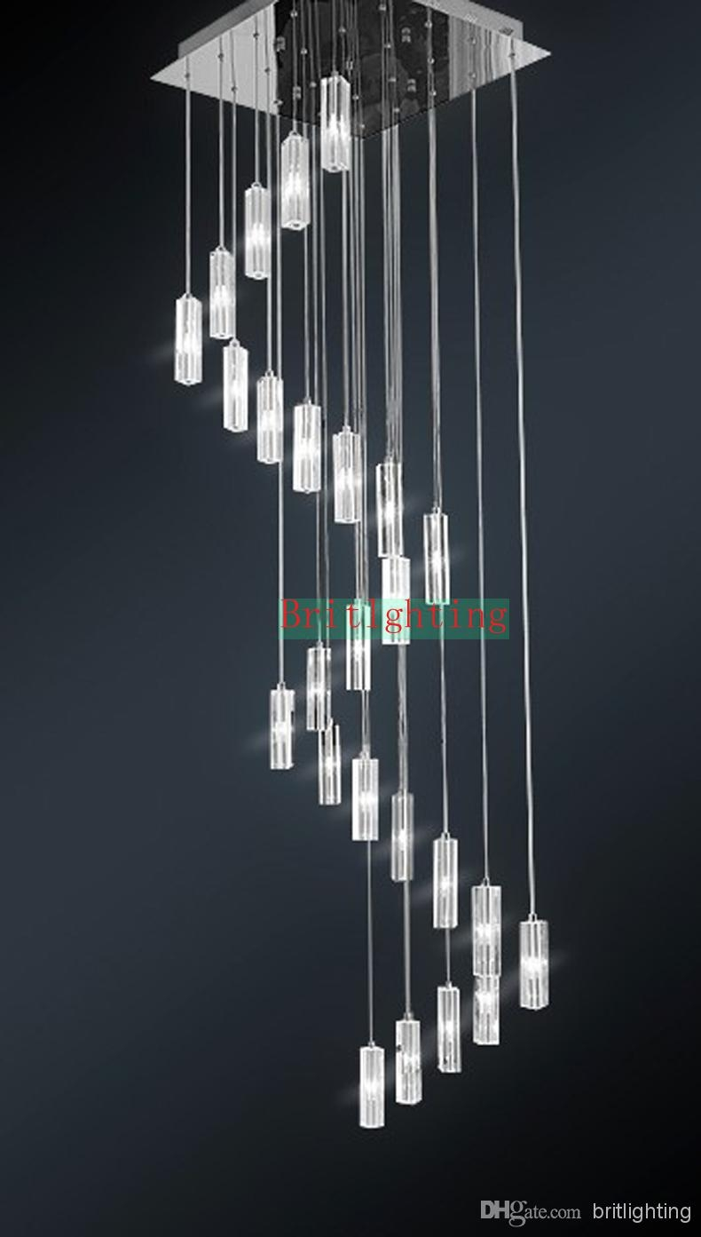 Hanging Crystal Pendants For Chandeliers Stairway Lighting Spiral In Staircase Chandeliers (#8 of 12)