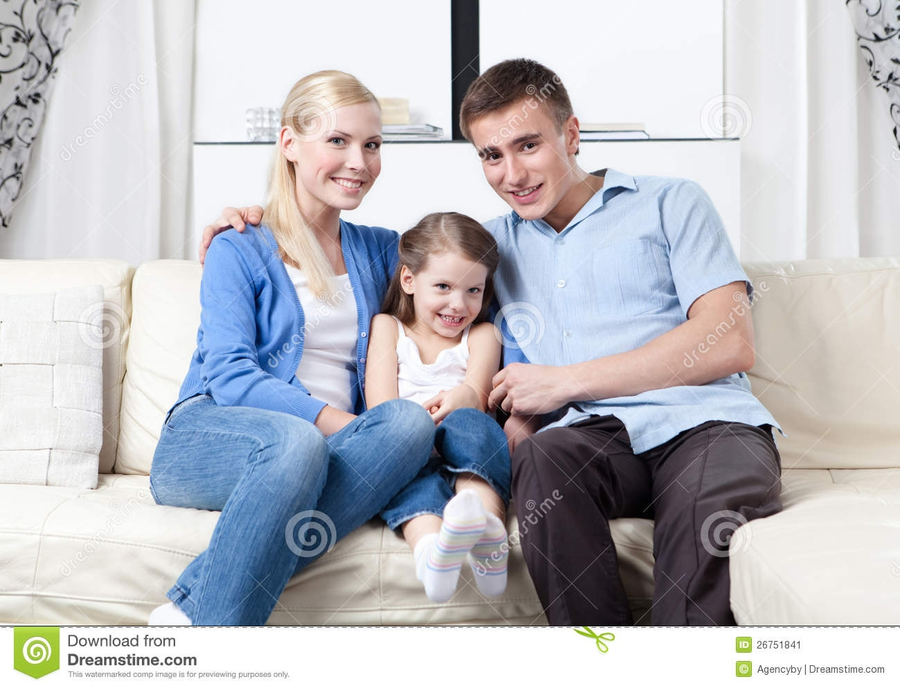 Happy Family Hug Each Other On The Sofa Stock Image Image 26751841 For Family Sofa (#6 of 12)