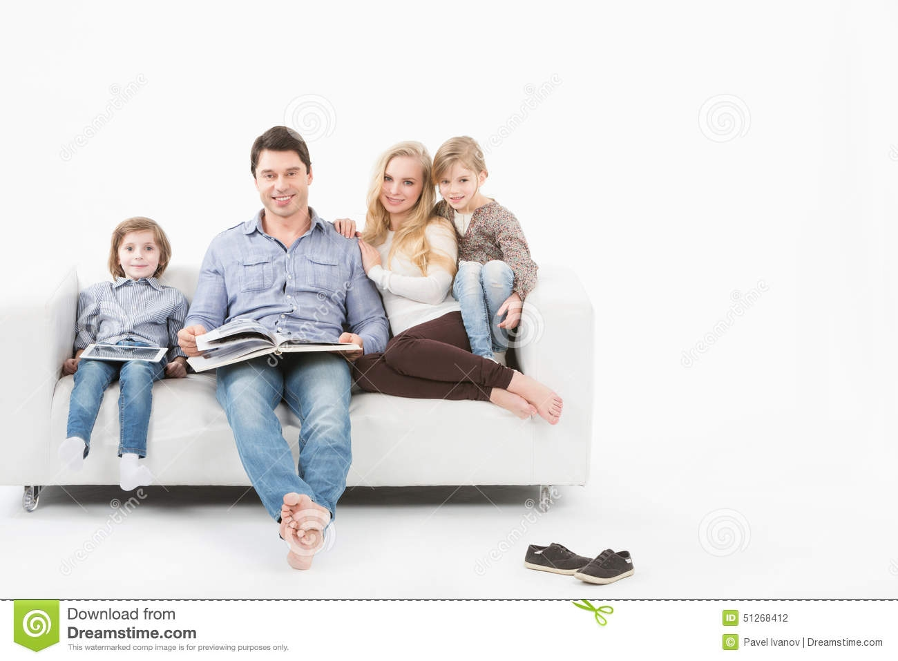 Happy Family Reading A Book On Sofa Royalty Free Stock Images Regarding Family Sofa (#7 of 12)