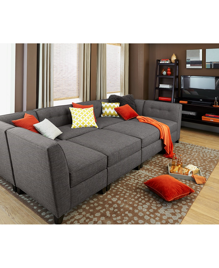 Harper Fabric 6 Piece Modular Chaise Ottoman Sectional Sofa Throughout 6 Piece Modular Sectional Sofa (#8 of 12)