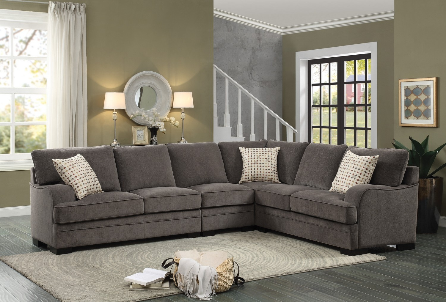 Homelegance Alamosa Sectional Sofa Set Chenille Brown 8335 Within Chenille Sectional Sofas (#10 of 12)