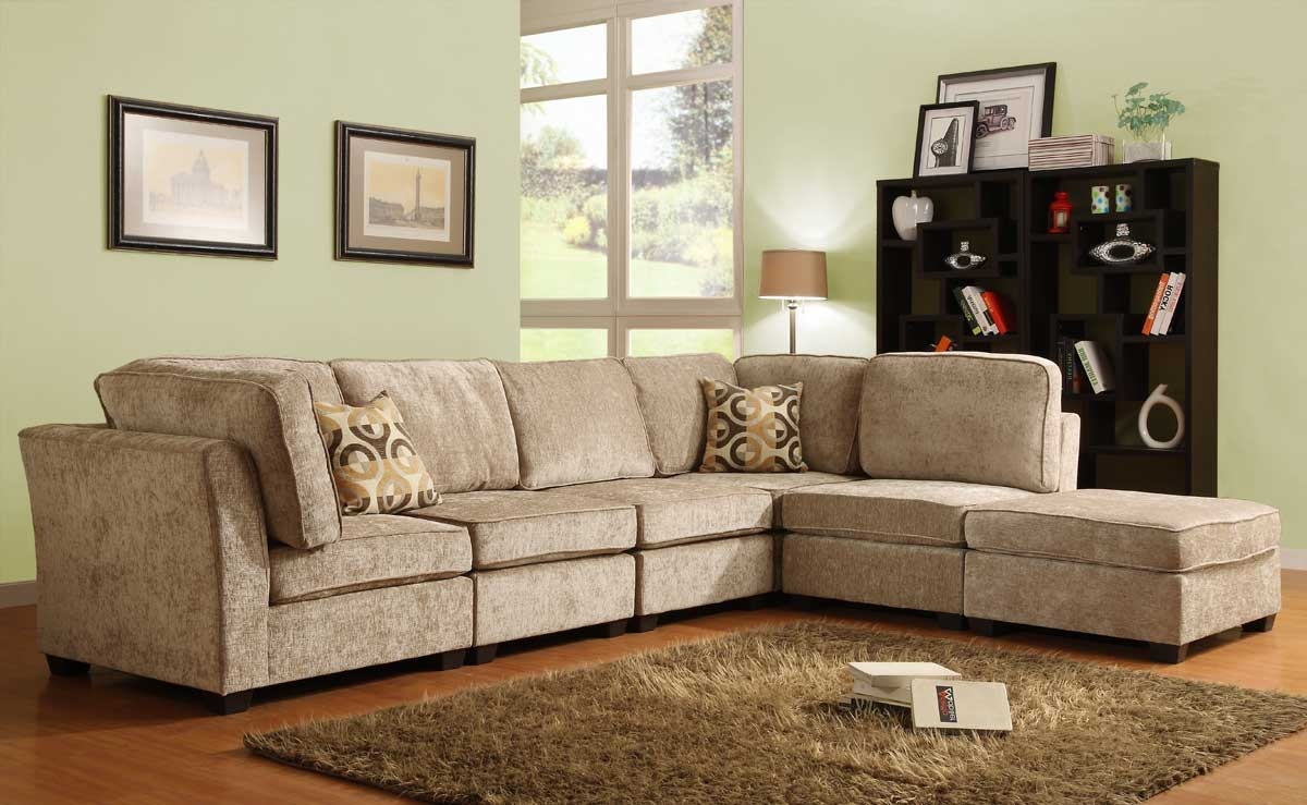Homelegance Burke Sectional Sofa Set A Brown Beige Chenille Within Chenille Sectional Sofas (#11 of 12)