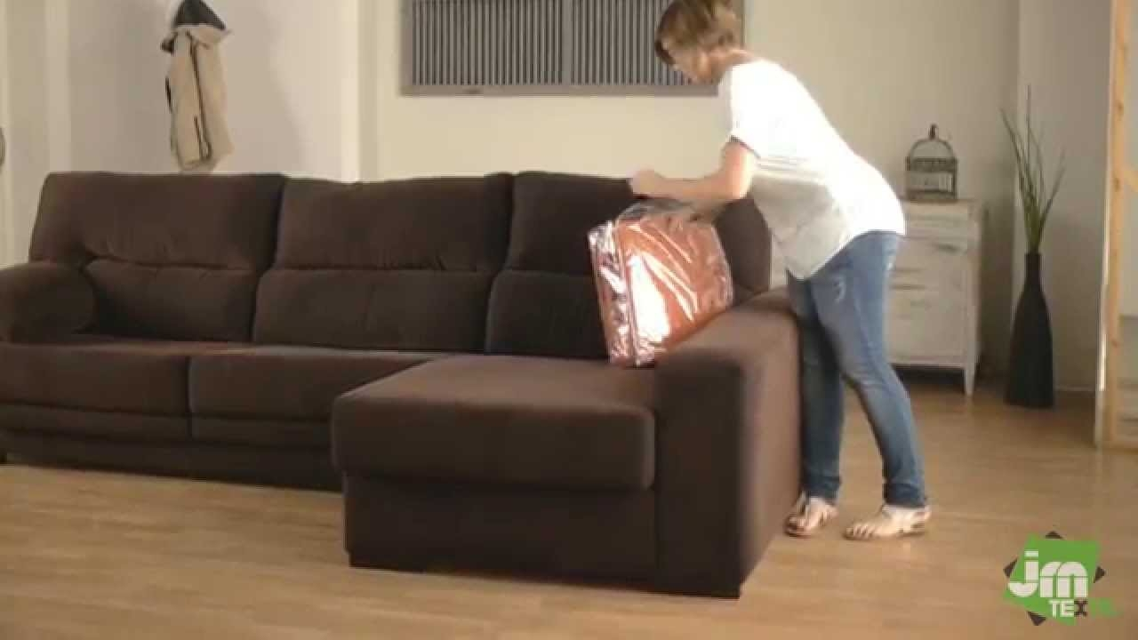 How To Put A Stretch Chaise Sofa Cover Youtube In Chaise Sofa Covers (View 4 of 12)