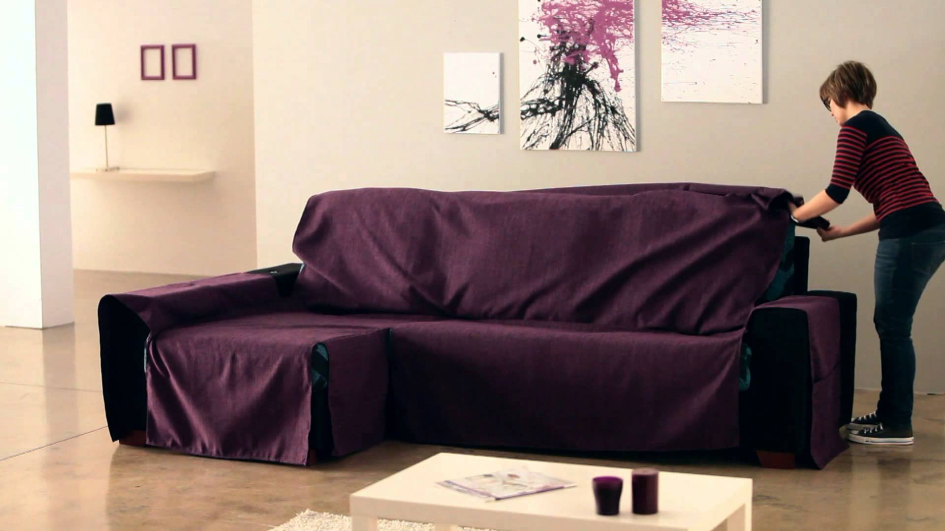 How To Put An Universal Chaise Sofa Covers Youtube Within Chaise Sofa Covers (#7 of 12)