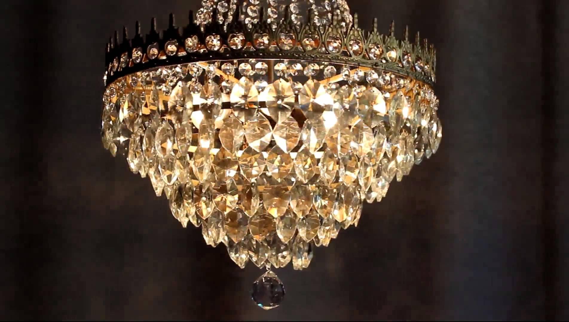Huge Antique Luster Crystal Candelabra Chandelier Lighting Brass Regarding Huge Crystal Chandelier (#6 of 12)