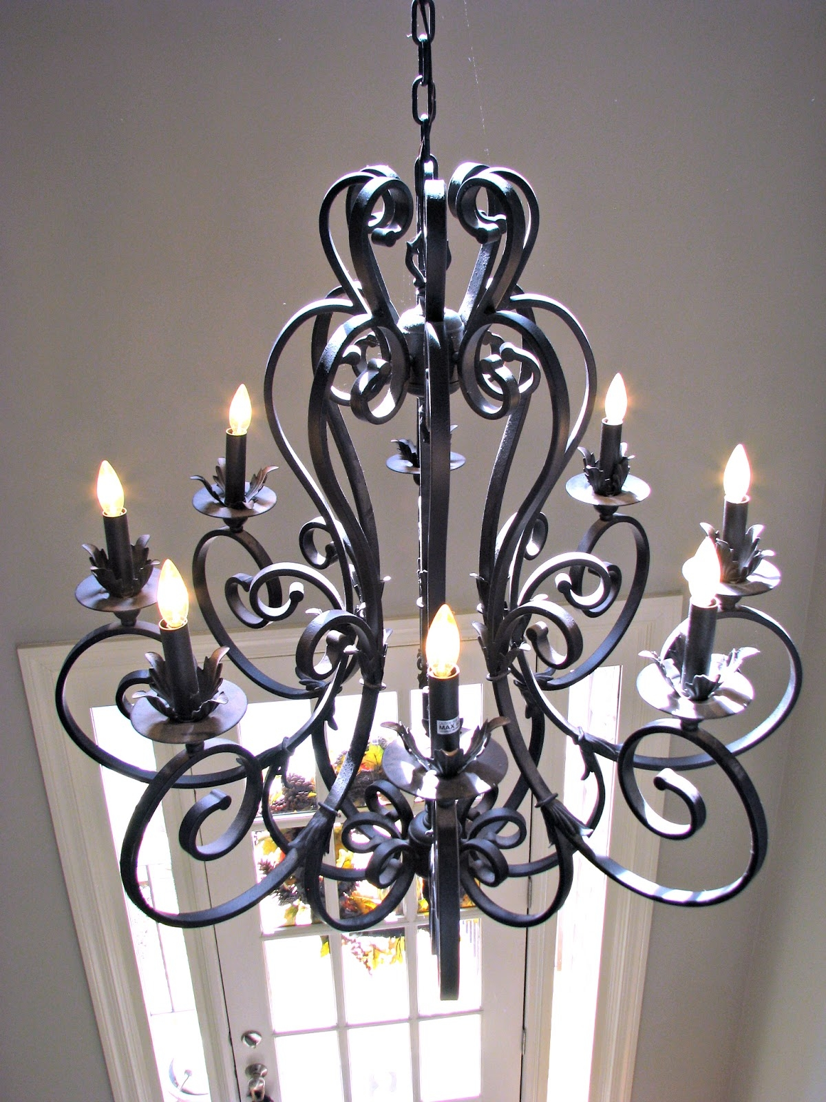 Iron Chandelier With Shades Roselawnlutheran Regarding Large Iron Chandeliers (#7 of 12)