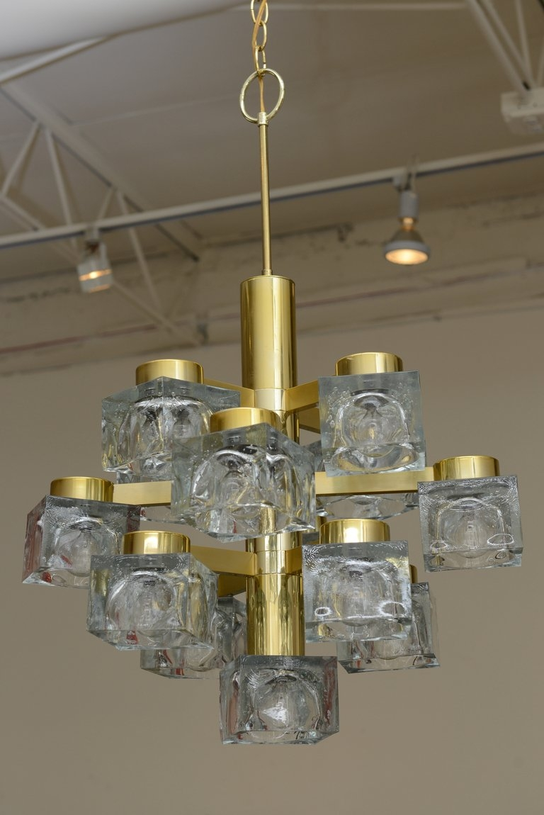 Italian Large Gaetano Sciolari Brass And Cube Glass Chandelier For Regarding Brass And Glass Chandelier (#3 of 12)