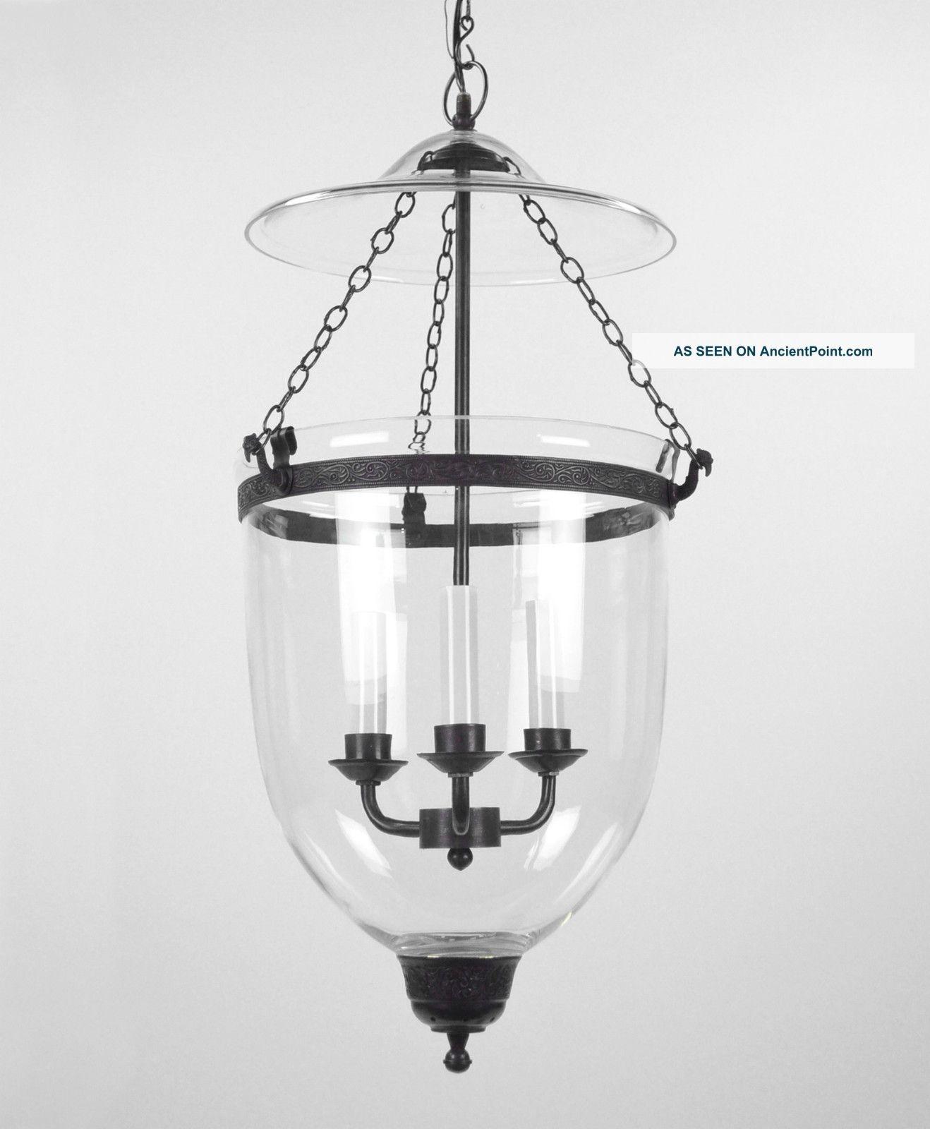 Large Bell Jar Light Chandelier Pendant Lantern Glass Colonial Old Regarding Antique Style Chandeliers (#8 of 12)