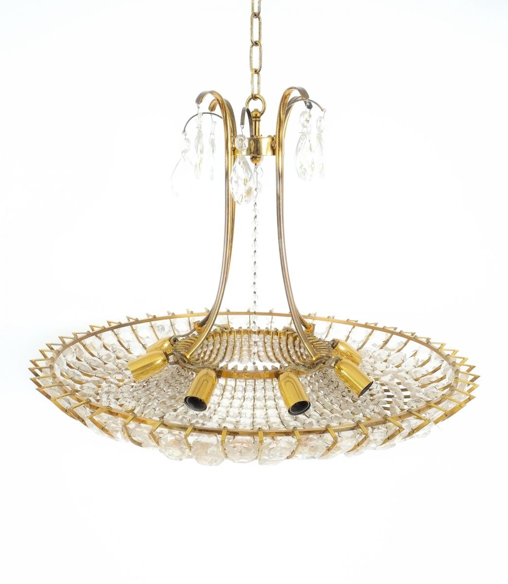 Large Brass Glass Chandelier 1960s For Sale At Pamono In Brass And Glass Chandelier (#4 of 12)