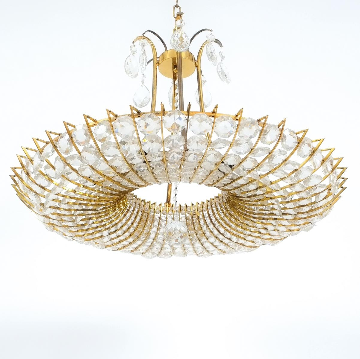 Large Brass Glass Chandelier 1960s For Sale At Pamono Throughout Brass And Glass Chandelier (#5 of 12)