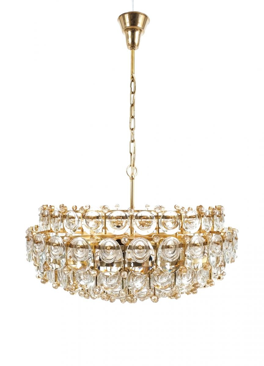 Large Gilt Brass Glass Chandelier From Palwa 1960s For Sale At With Regard To Brass And Glass Chandelier (#6 of 12)