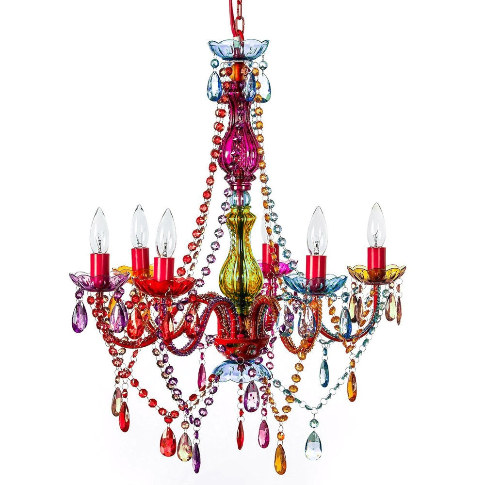Large Gypsy Chandelier 6 Light Boho Retro Coloured Bead Crystals In Colourful Chandeliers (#8 of 12)