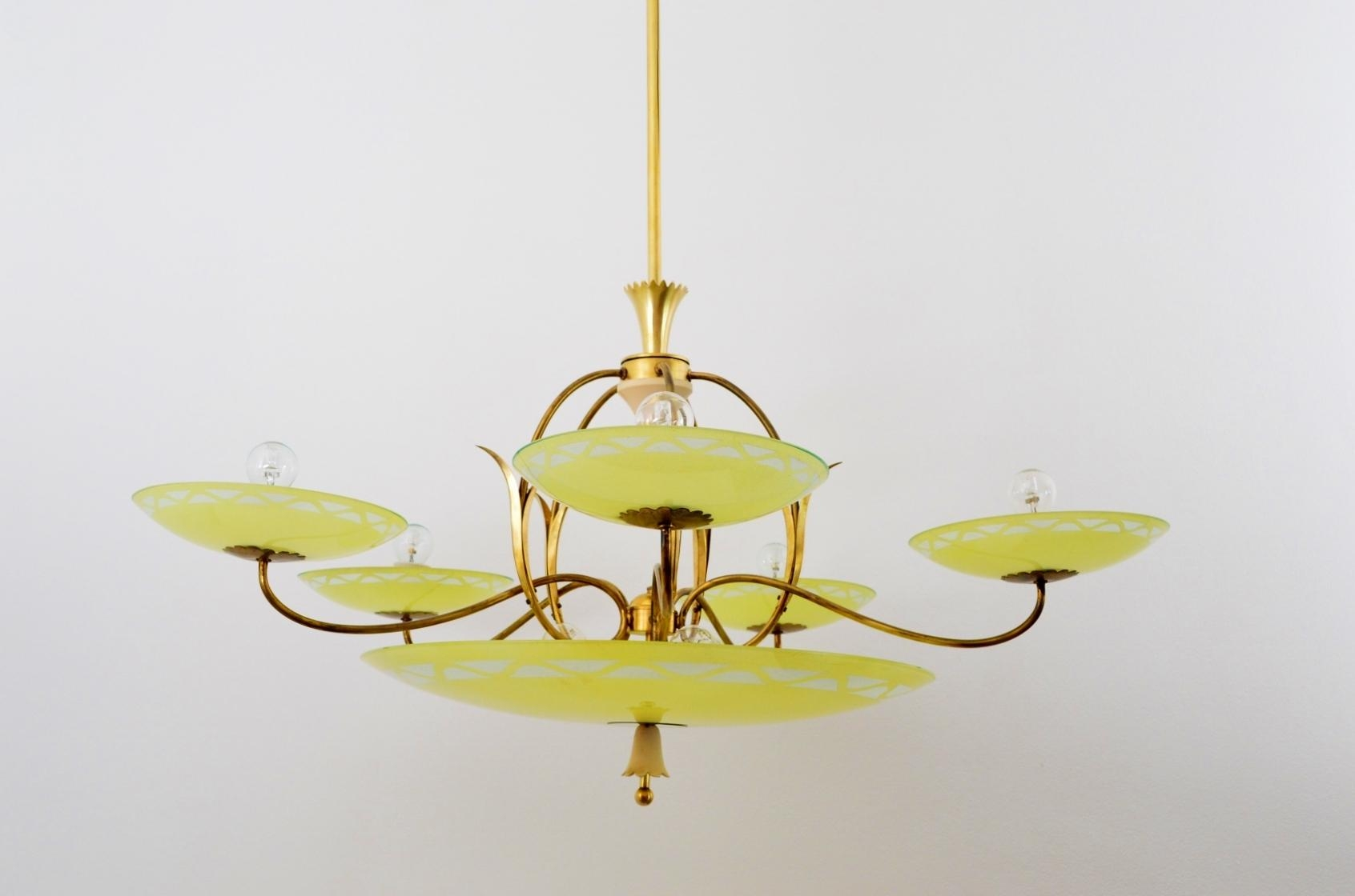 Large Vintage Italian Art Deco Five Arm Brass Yellow Glass With Brass And Glass Chandelier (#7 of 12)