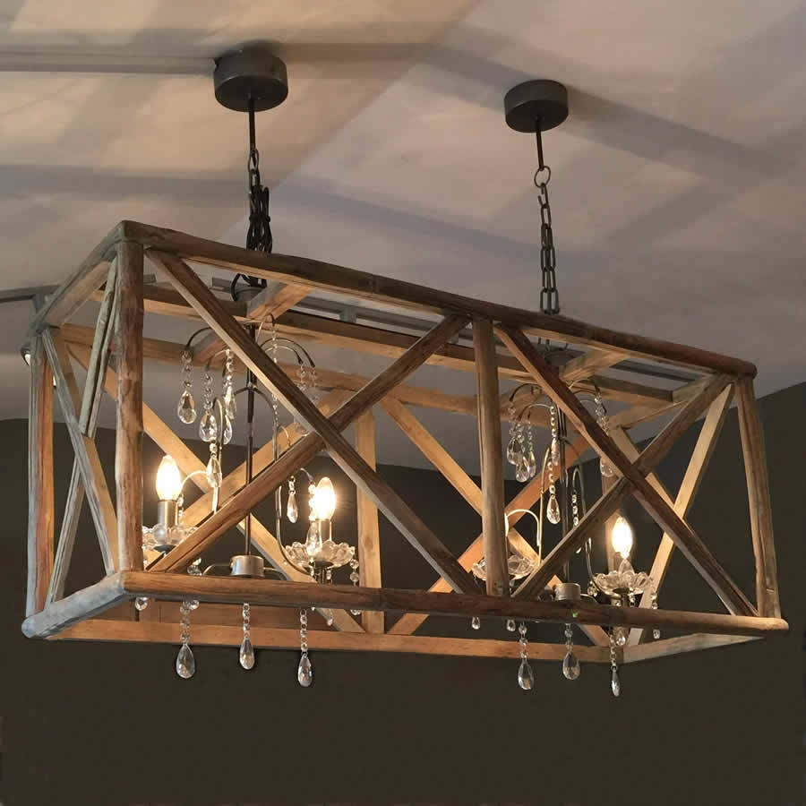 Large Wooden Chandelier With Metal And Crystal Wooden Chandelier Regarding Oversized Chandeliers (#11 of 12)