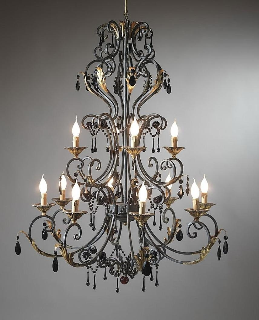 Large Wrought Iron Chandeliers Classic And Gothic Wrought Iron Inside Large Iron Chandeliers (#9 of 12)