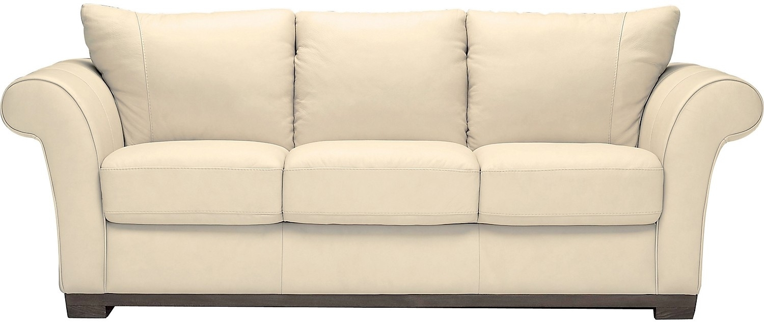 Living Room Furniture Layla Genuine Leather Sofa Ivory Home Within Brick Sofas (#8 of 12)