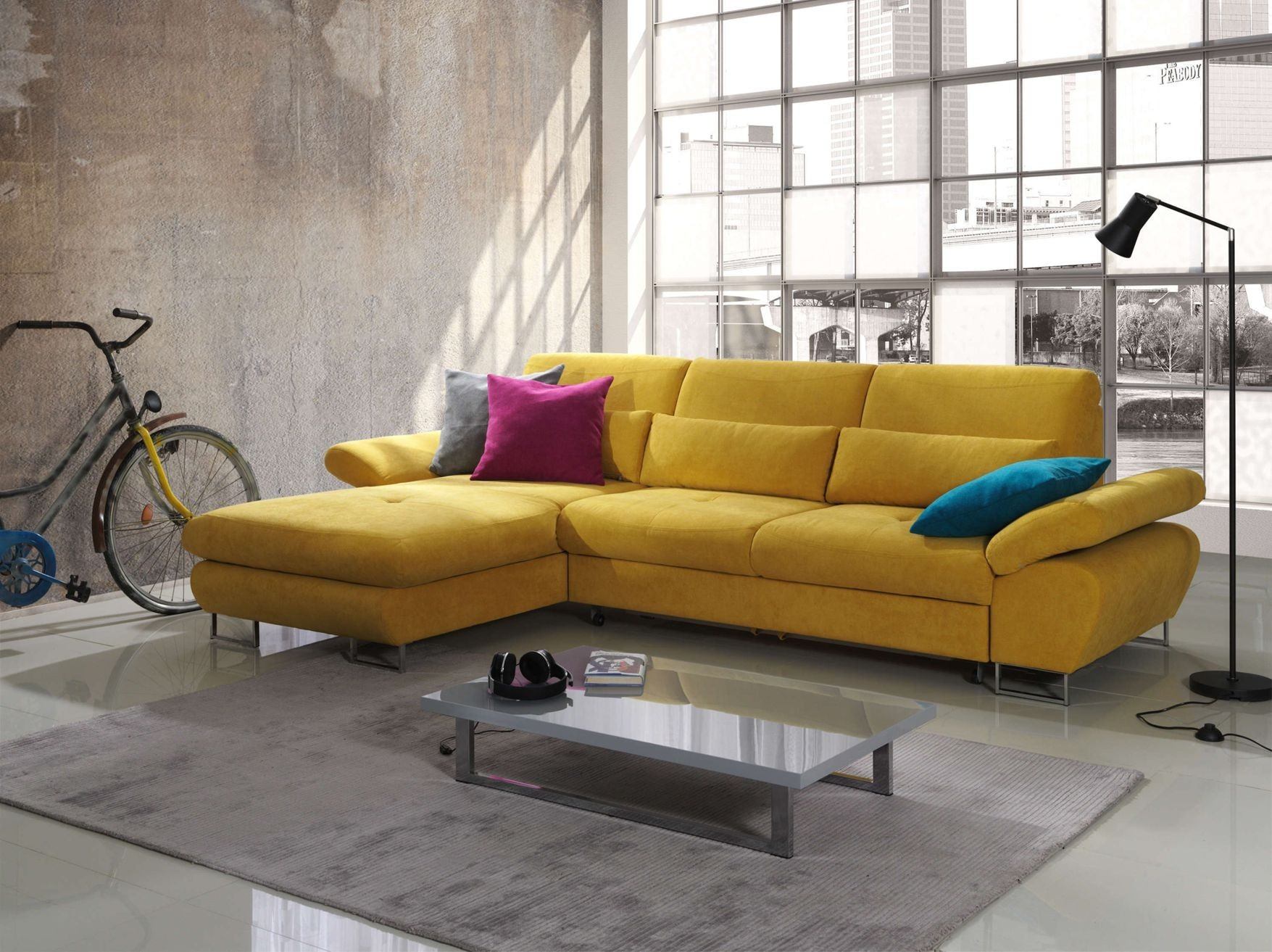 Living Room Verry Attractive Small Goldenrod Fabric Sectional Pertaining To Apartment Sectional Sofa With Chaise (#8 of 12)