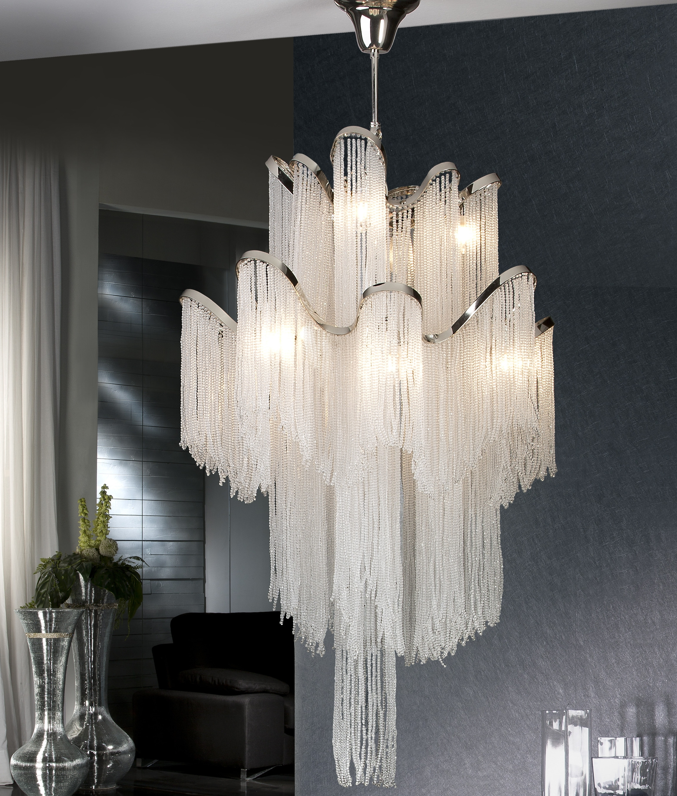 Long Drop Chandeliers For Commercial Spaces Lighting Styles Regarding Long Chandelier Lighting (#9 of 12)