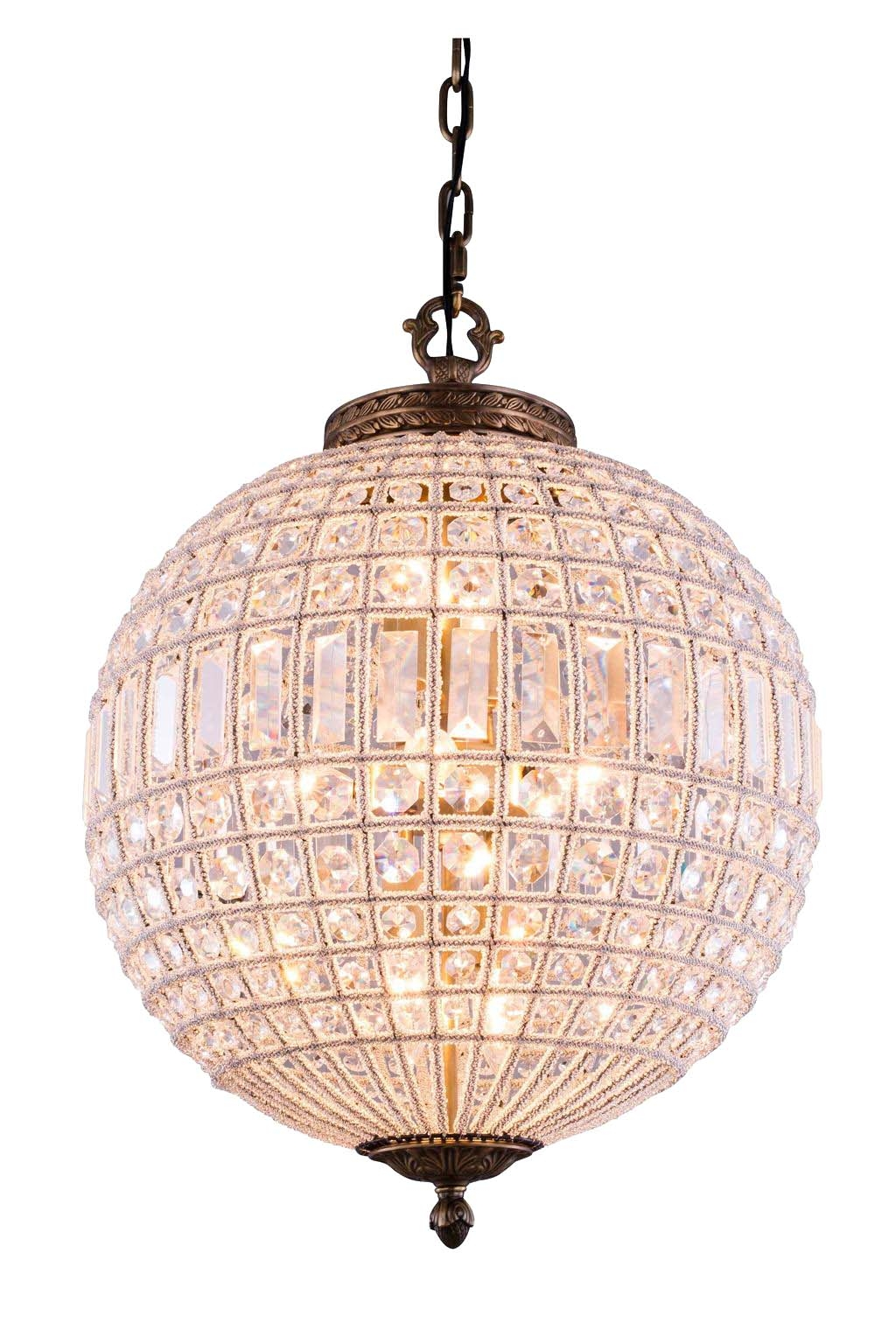 Lucienne 3 Light Crystal Pendant Chandelier In French Gold Intended For Globe Crystal Chandelier (#10 of 12)