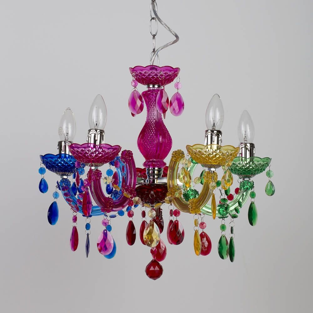 Marie Therese 5 Light Dual Mount Chandelier Multicoloured Inside Colourful Chandeliers (#9 of 12)