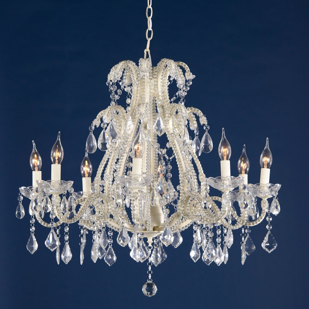Marie Therese Cream Clear French Glass Large 8 Light Chandelier For Large Cream Chandelier (#8 of 12)