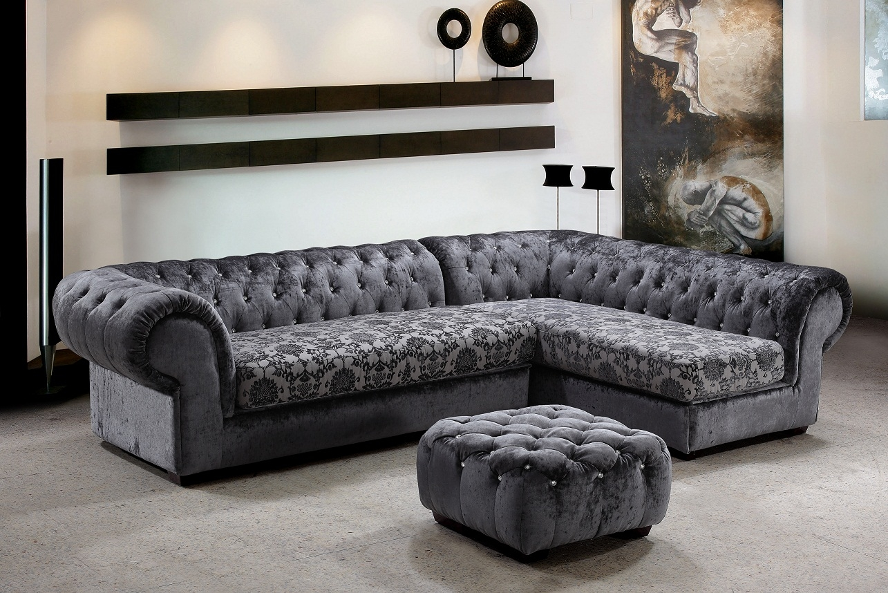 Metropolitan 3 Piece Fabric Sectional Sofa Ottoman With Crystals In Elegant Fabric Sofas (#11 of 12)