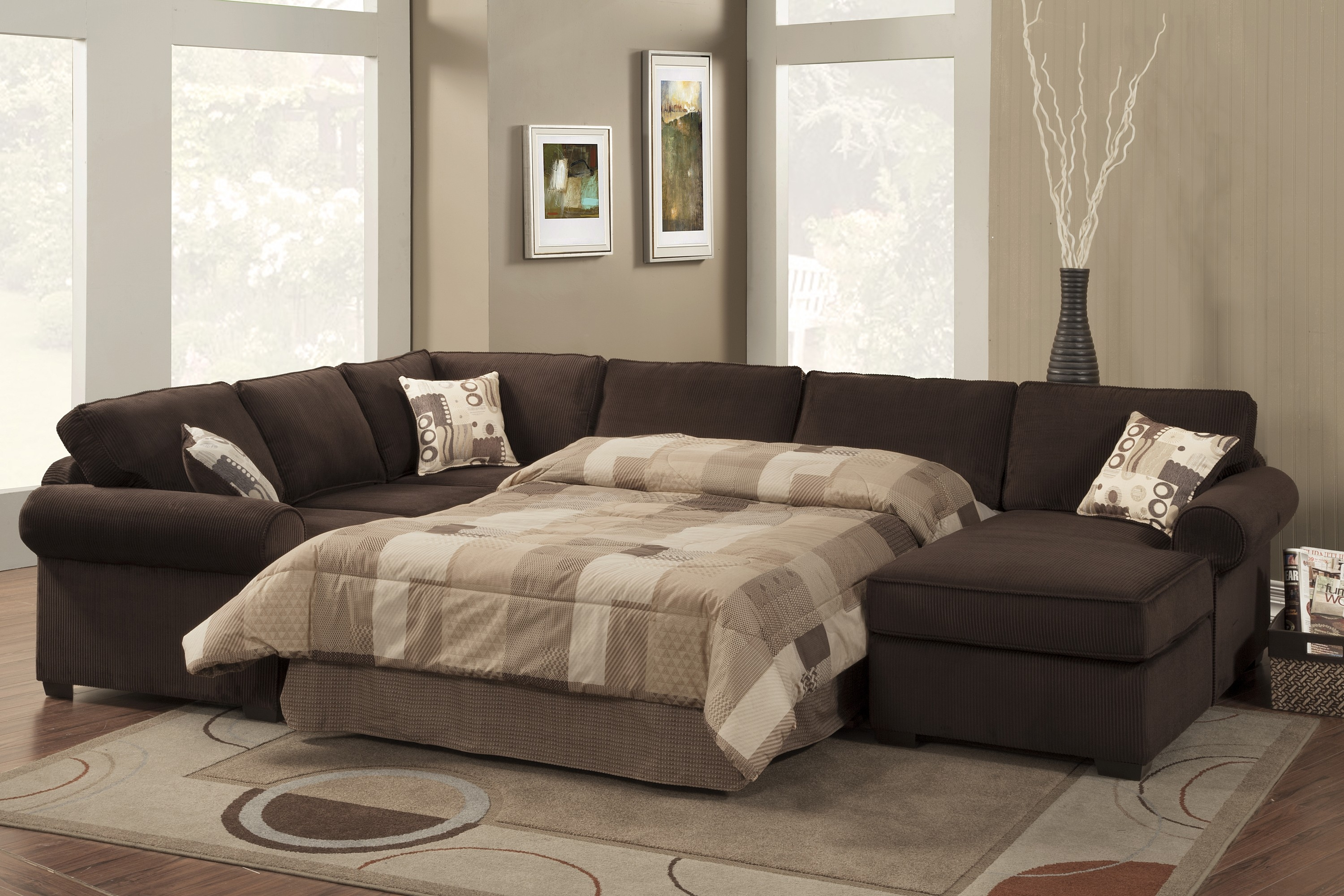 Popular Photo of 3 Piece Sectional Sleeper Sofa