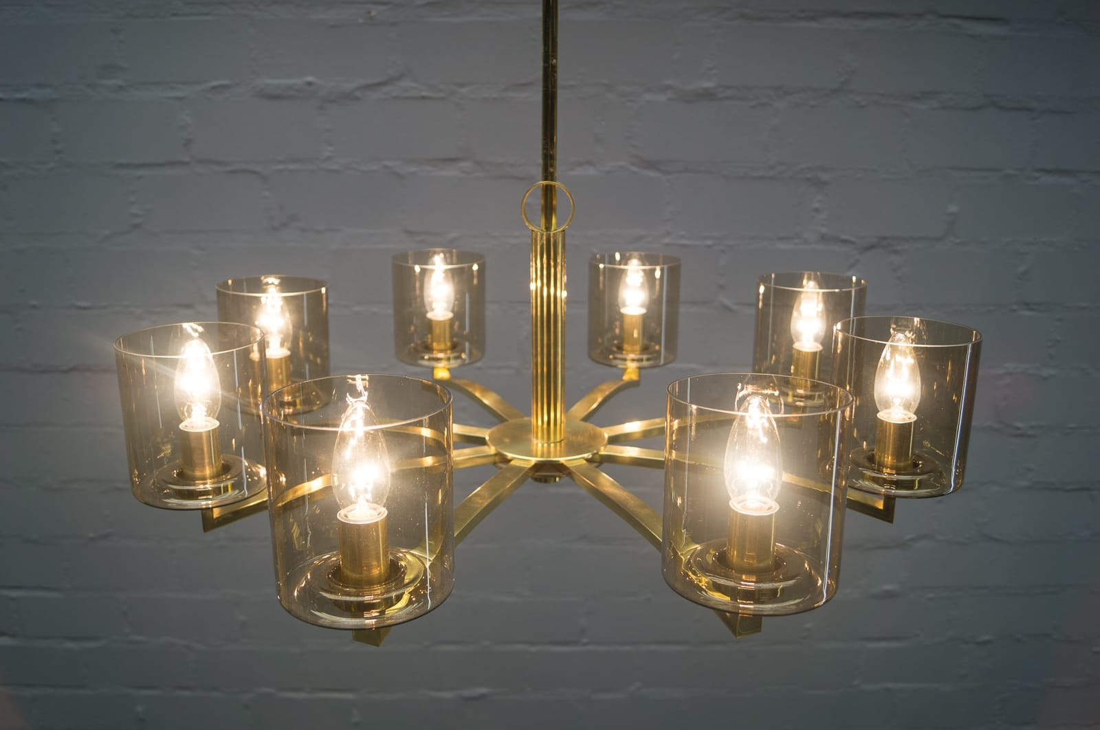 Mid Century German Smoked Glass And Brass Chandelier 1950s For For Smoked Glass Chandelier (#7 of 12)