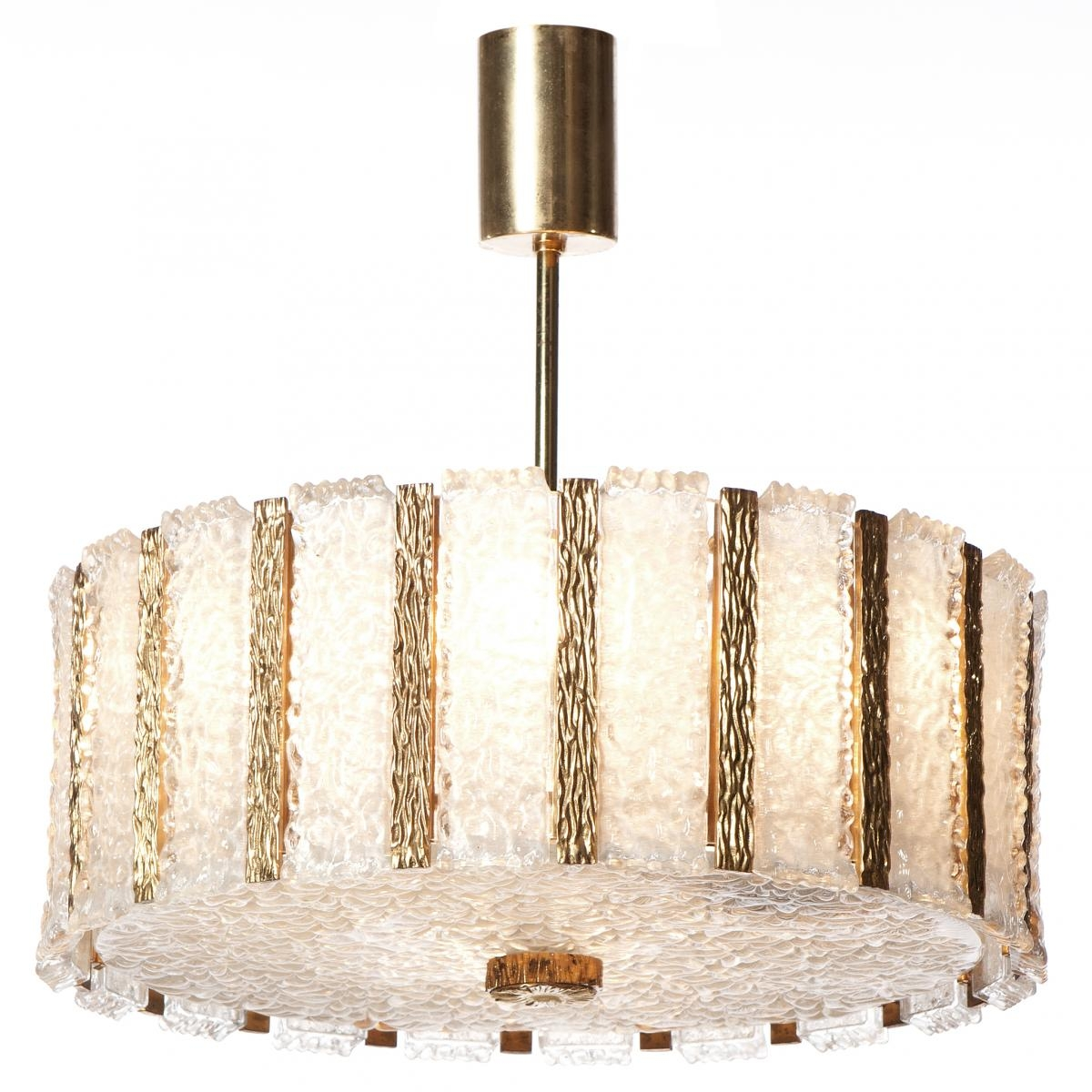 Mid Century Nine Light Gilt Brass Frosted Glass Chandelier From Within Brass And Glass Chandelier (#8 of 12)