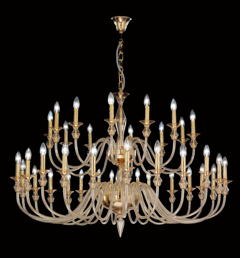 Modern Amber Murano Glass Chandelier With Gold Metal Finish Regarding Gold Modern Chandelier (#8 of 12)