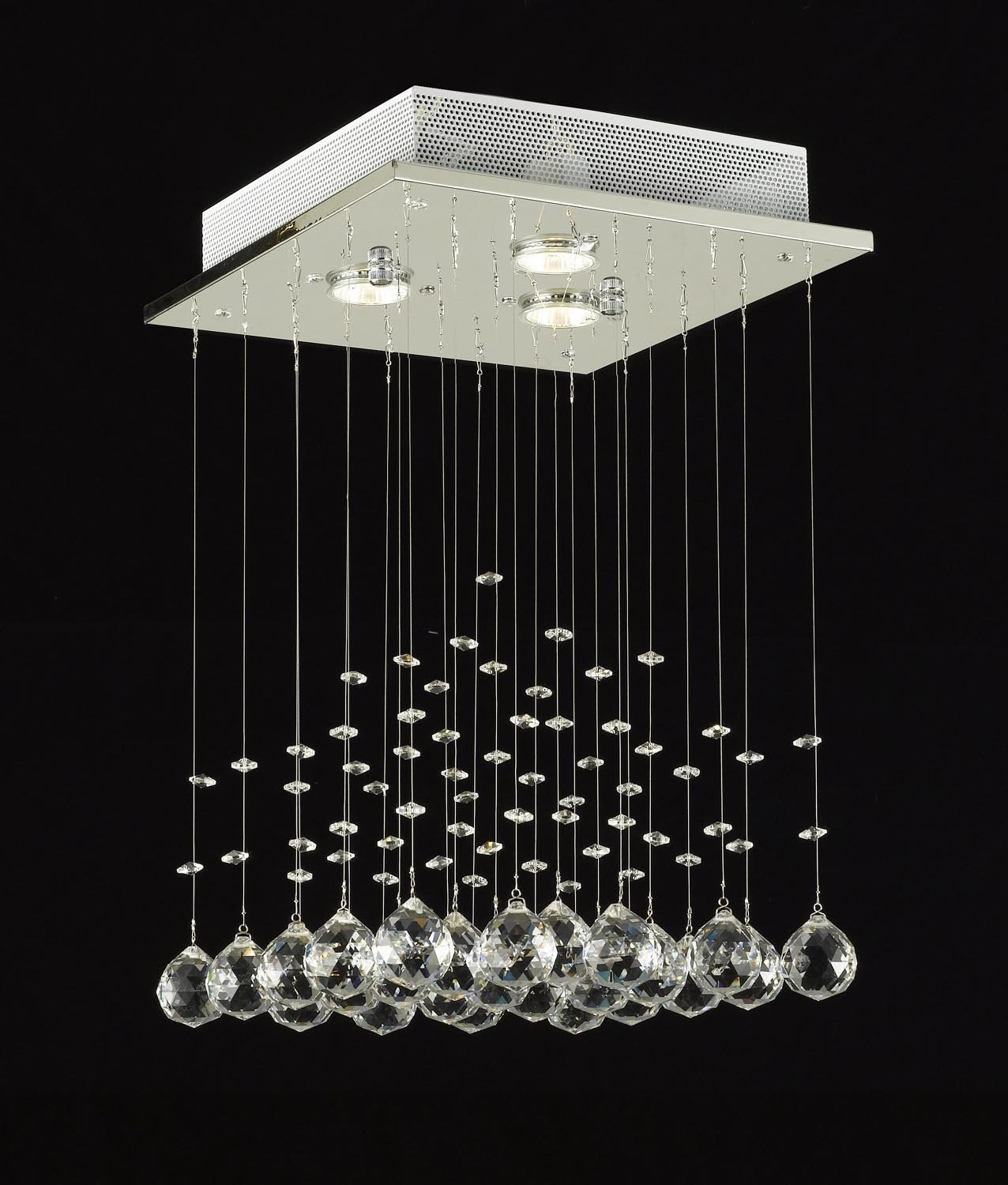 Modern Chandelier Rain Drop Lighting Crystal Ball Fixture Pendant Pertaining To Modern Small Chandeliers (#8 of 12)