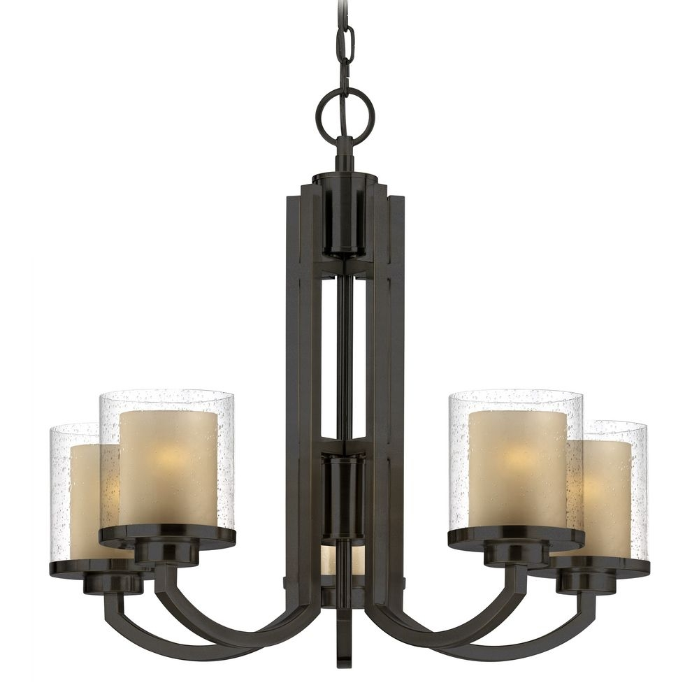 Modern Chandelier With Amber Glass In Bolivian Bronze Finish Intended For Modern Chandeliers (#10 of 12)