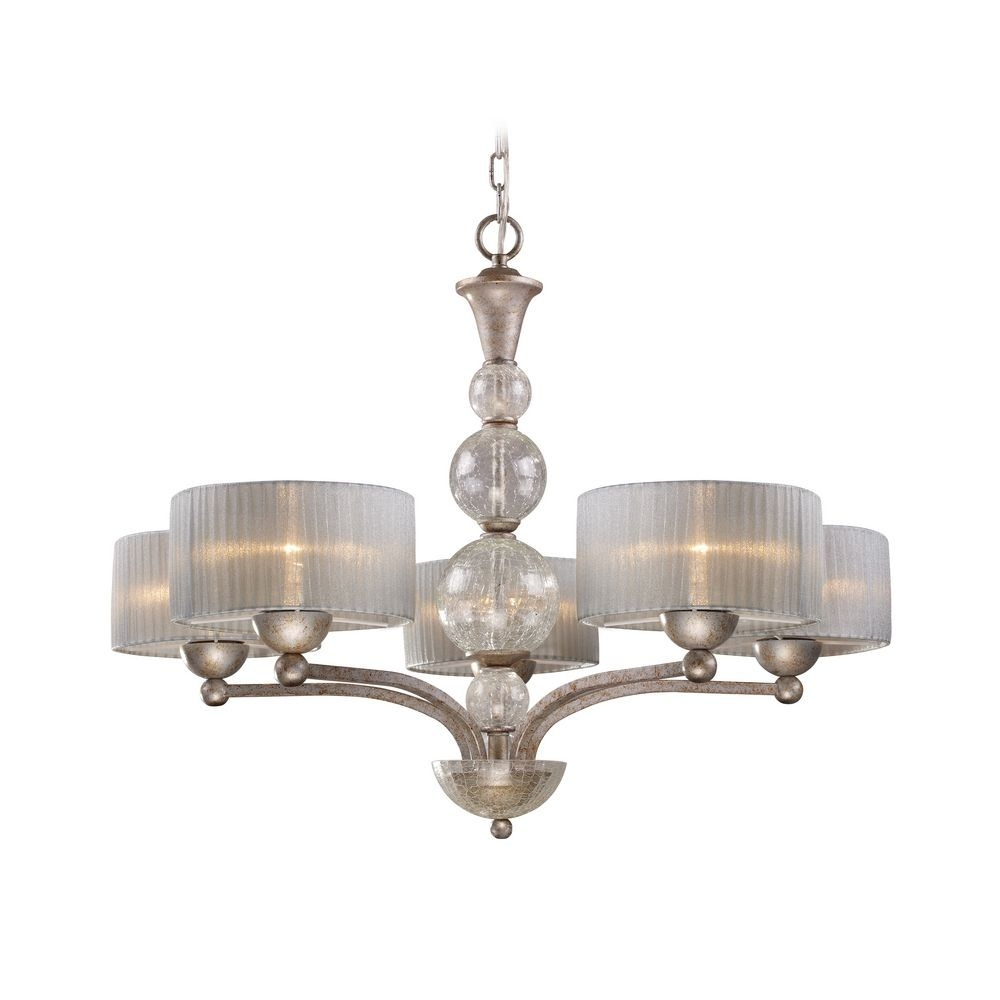 Modern Chandelier With Silver Shade In Antique Silver Finish Inside Modern Silver Chandelier (#10 of 12)