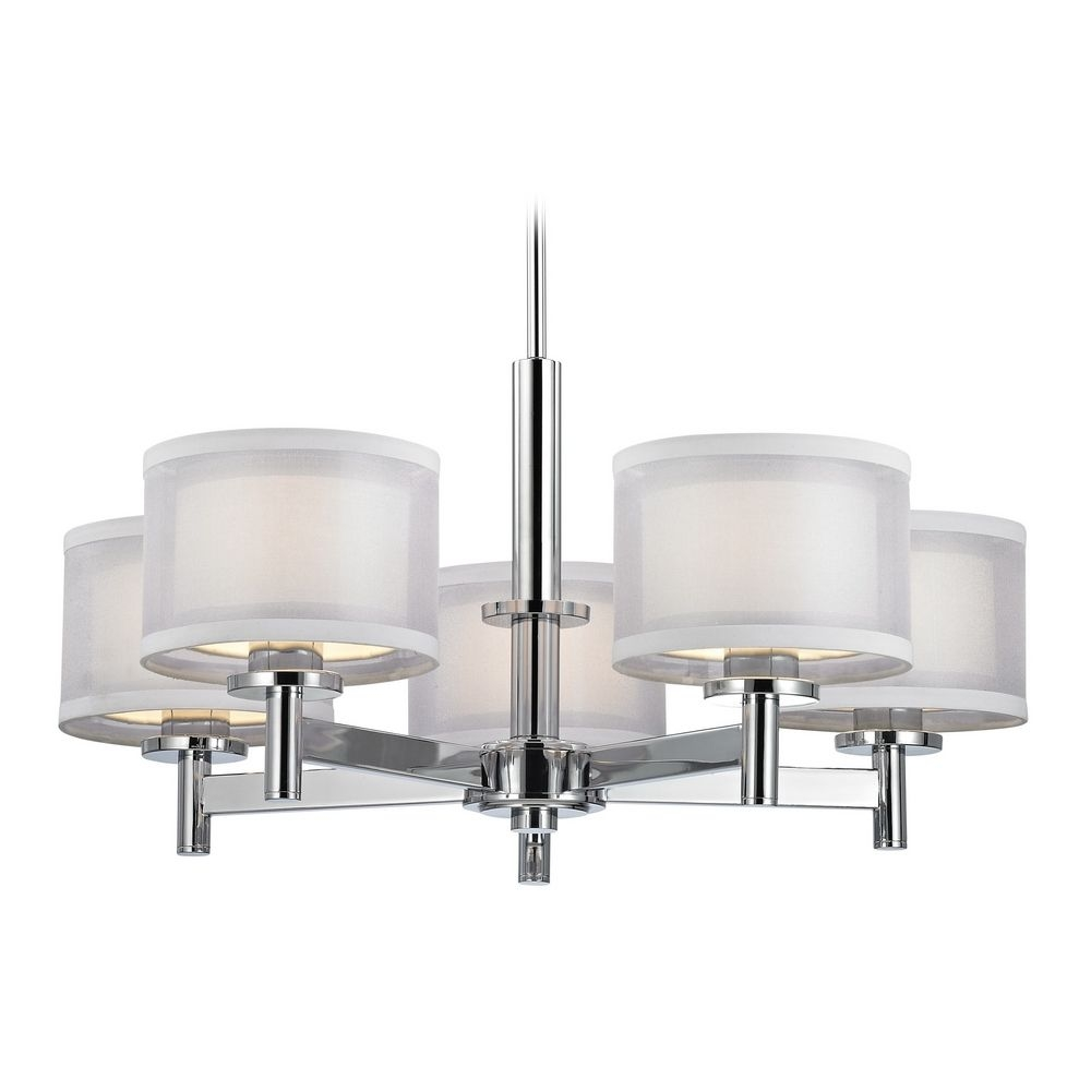 Modern Chandelier With White Shades In Chrome Finish 1270 26 Inside Chrome Chandeliers (#11 of 12)