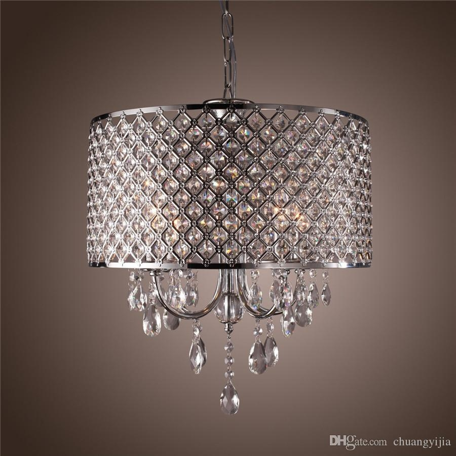 Modern Chandeliers With 4 Lights Pendant Light With Crystal Drops Pertaining To Modern Silver Chandelier (#11 of 12)