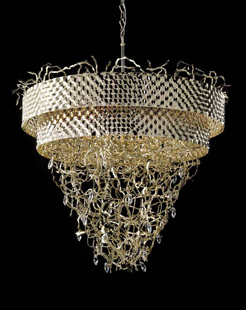 Modern Contemporary Gold Metal Chandelier Idll463k12 Murano Imports Intended For Gold Modern Chandelier (#9 of 12)