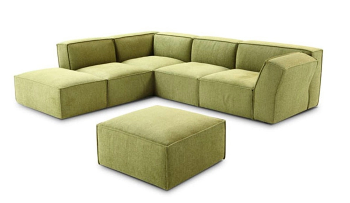 Modern Green Fabric Sectional Sofa With Fabric Sectional Sofa (#8 of 12)