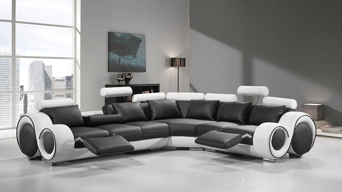 Modern Leather Sectional Sofa With Recliners With Black And White Sectional Sofa (View 8 of 12)