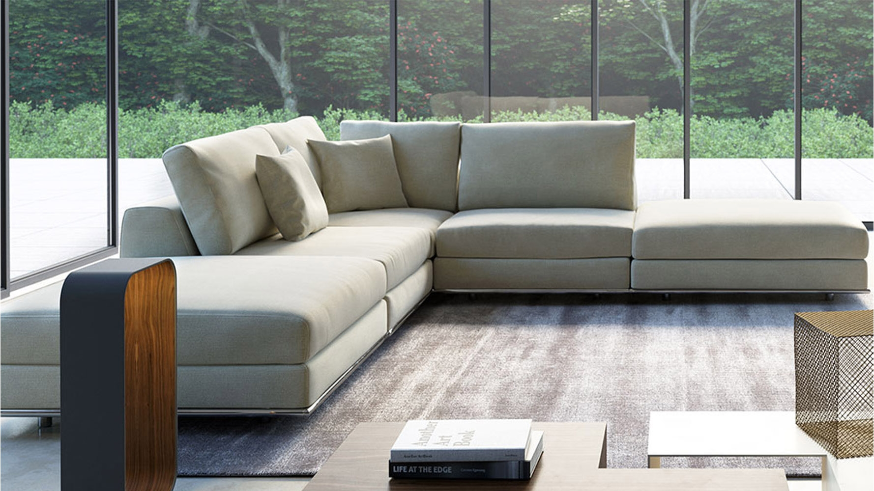 Modern Persis Armless Corner Sectional Sofa Moonbeam Zuri Regarding Armless Sectional Sofas (#11 of 12)