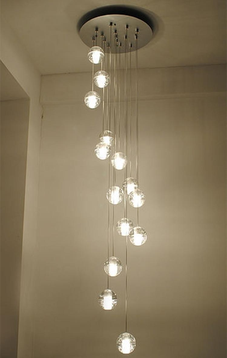Modern Stairwell Led Chandelier Lighting Large Bubble Crystal Ball Intended For Long Chandelier Lighting (#10 of 12)