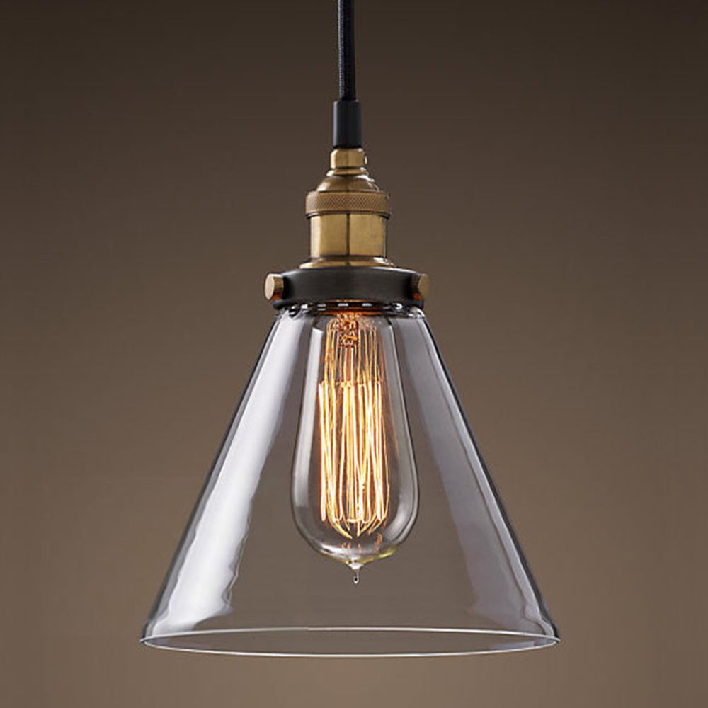 Modern Vintage Industrial Metal Glass Ceiling Light Shade Pendant Inside Vintage Style Chandeliers (#8 of 12)